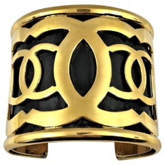 Vintage Chanel Extra Wide Black Cuff With Gold Tone CC Logo Designs 2  7/16 inch