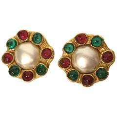 Vintage CHANEL Faux Pearl & Gripoix Earrings