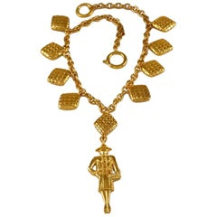 Vintage CHANEL Figural Mademoiselle Quilted Charm Necklace