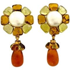 Vintage CHANEL Flower Pearl Gripoix Poured Glass Drop Earrings
