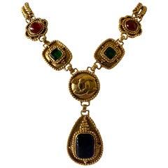 """Vintage Chanel Gilt CC Logo """"pate de verre"""" Statement  Drop Necklace"""