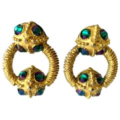 Vintage Chanel Gilt Green AB Door Knocker Earrings
