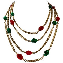 "Vintage Chanel Gilt Green and Red ""pate de verre"" Statement Necklace"