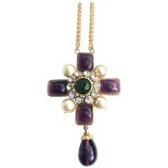 Vintage Chanel gilt metal poured purple glass cross necklace signed 2CC3