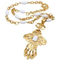 Vintage Chanel Glass Cross Necklace Pendant 1995