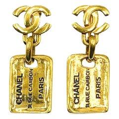 Vintage Chanel Gold 31 Rue Cambon Logo Drop Earrings 1980s