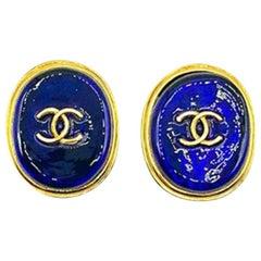 Vintage Chanel Gold & Blue Pate De Verre Logo Earrings by Maison Gripoix 1993
