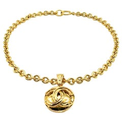 Vintage Chanel Gold Byzantine Cc Logo Chain Necklace 1994