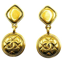 Vintage Chanel Gold Cc Logo Matelassé Pattern Statement Earrings 1980s
