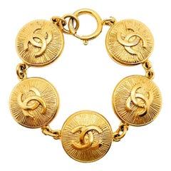 Vintage Chanel Gold Cc Logo Starburst Bracelet 1980s