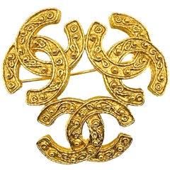 Vintage Chanel Gold CC Logo Trio Brooch 1994