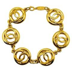 Vintage Chanel Gold Cc on Repeat Logo Bracelet 1983