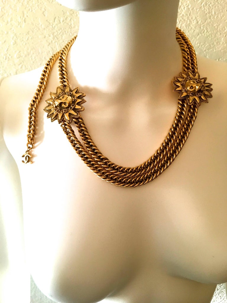 Chanel Gold Sun and Lion Medallions Chain Belt and/or Necklace 1980s For Sale 6