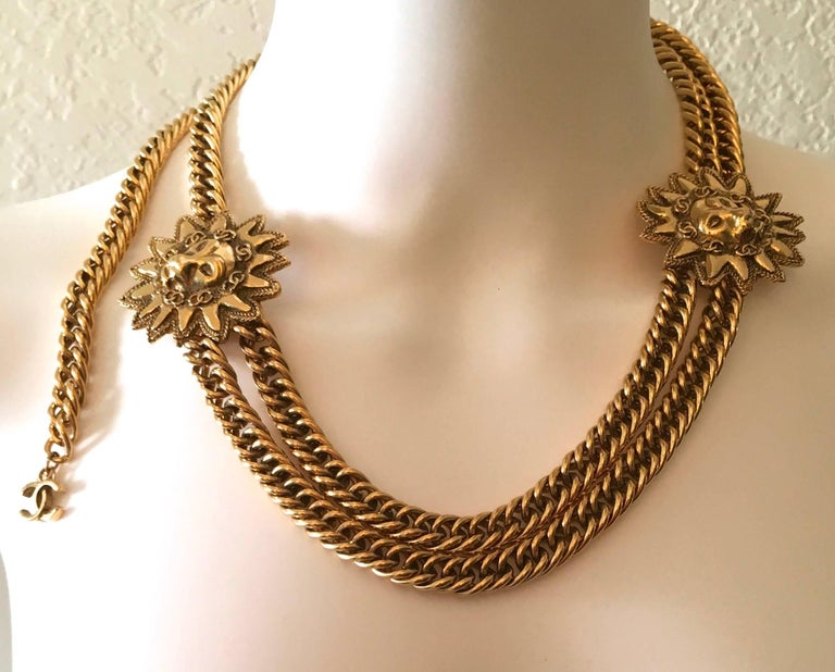 Chanel Gold Sun and Lion Medallions Chain Belt and/or Necklace 1980s For Sale 5