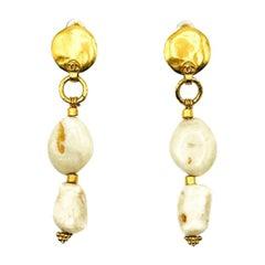 Vintage Chanel Gold & Cream Pebble Long Hot Summer Logo Earrings 1998