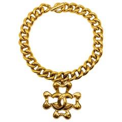 Vintage Chanel Gold Large Statement Collar with Clover & Interlocking CC Pendant