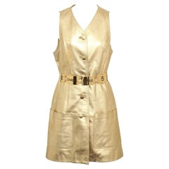 Vintage Chanel Gold Leather Vest Dress with CC Buttons 1980's