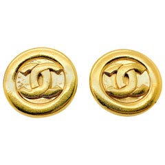 Vintage Chanel Gold Logo Earrings 1980s