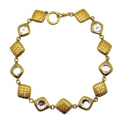 Vintage Chanel Gold Lozenge & Crystal Accent Reversible Collar Necklace 1980s