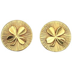Vintage Chanel Gold Lucky Four Leaf Clover Statement Earrings 1960s