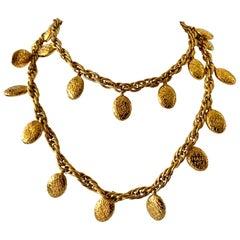 Vintage Chanel Gold Nugget Logo Necklace
