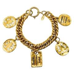 Vintage Chanel Gold Oversize Rue Cambon Charm Bracelet 1980s
