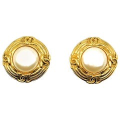 Vintage Chanel Gold & Pearl Logo Earrings 1993