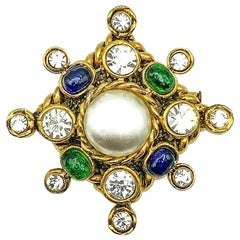Vintage Chanel Gold Pearl & Poured Glass Cruciform Brooch 1980s