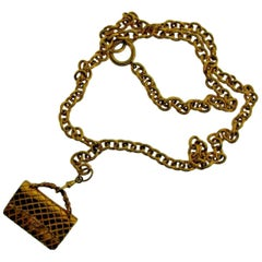 Vintage Chanel Gold Plated Chain Necklace w/ Purse Pendant