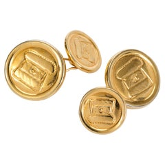 Vintage Chanel Gold Plated Flap Bag Cufflinks