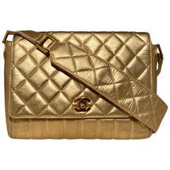 Vintage Chanel Gold Quilted Leather Shoulder Bag