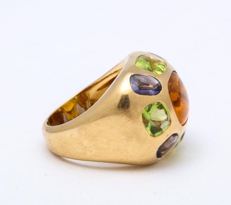 Artisan Vintage Chanel Gold Semi Precious Stone Ring For Sale