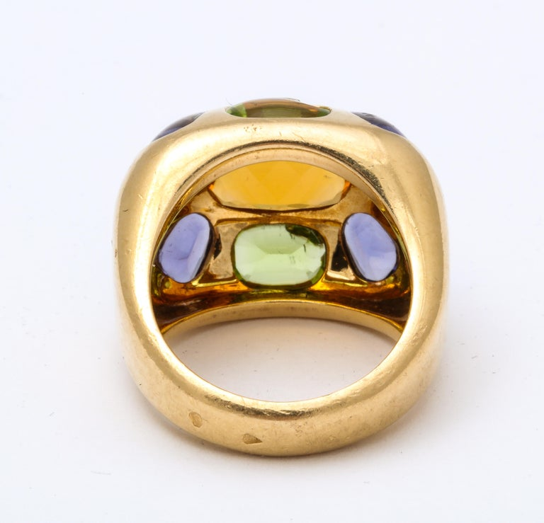 Vintage Chanel Gold Semi Precious Stone Ring In Good Condition For Sale In New York, NY