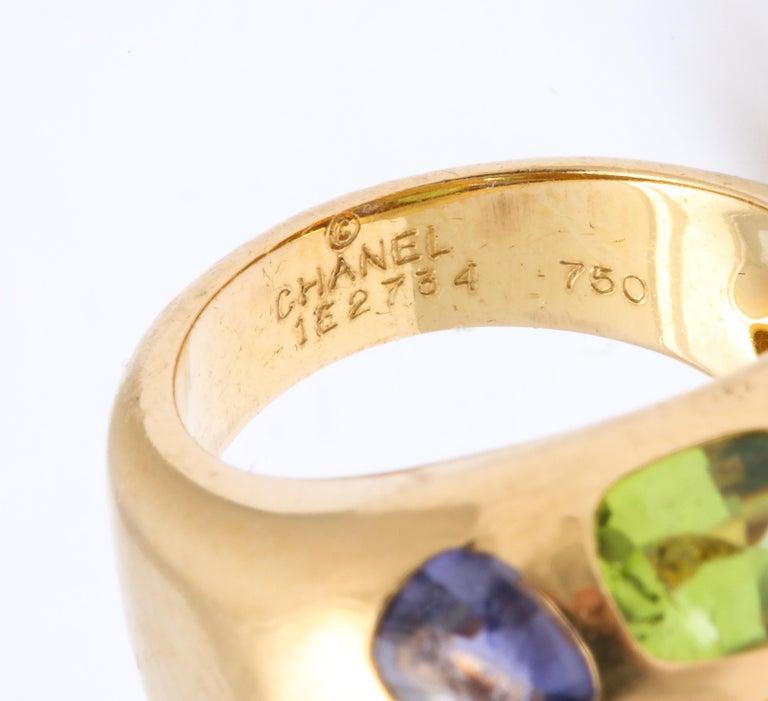 Women's Vintage Chanel Gold Semi Precious Stone Ring For Sale