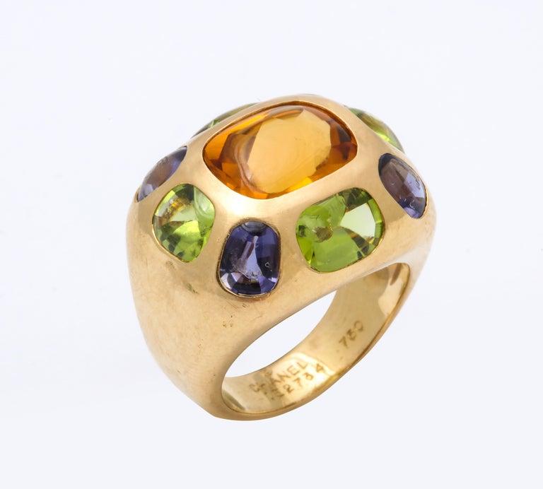 Vintage Chanel Gold Semi Precious Stone Ring For Sale 1