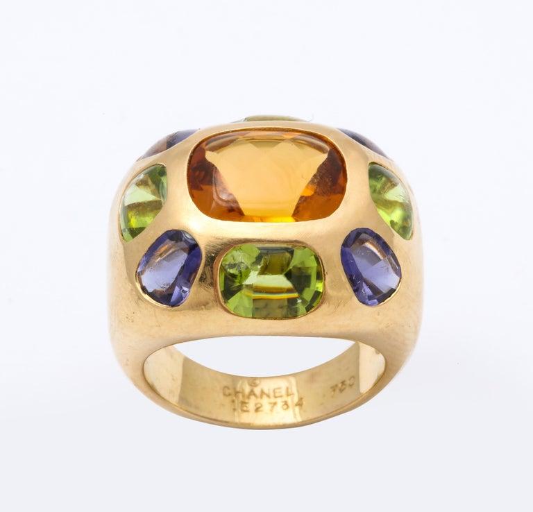 Vintage Chanel Gold Semi Precious Stone Ring For Sale 2