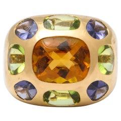 Vintage Chanel Gold Semi Precious Stone Ring