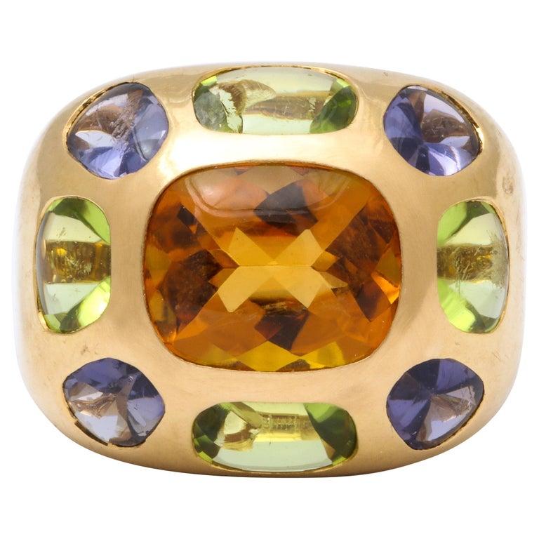 Vintage Chanel Gold Semi Precious Stone Ring For Sale