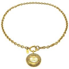 Vintage Chanel Gold Sunburst Logo Chain Necklace 1980s