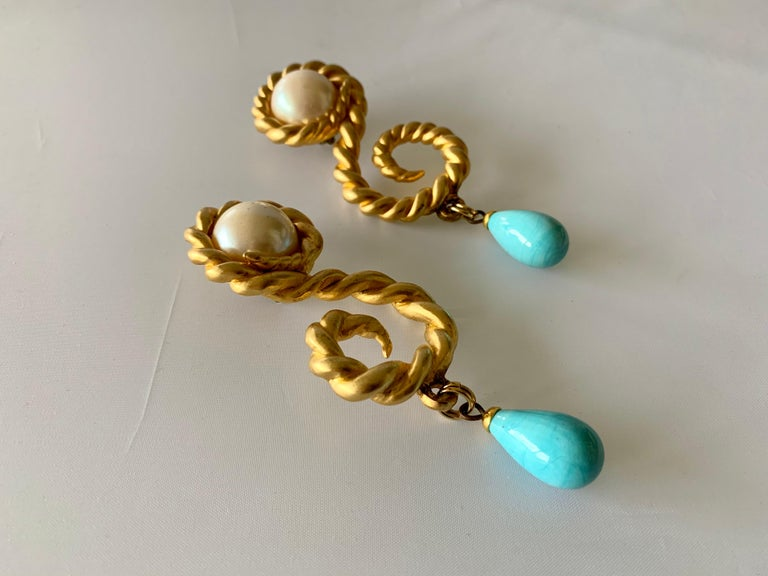 Baroque Vintage Chanel  Gold Swirl Pearl and Turquoise Statement Earrings  For Sale