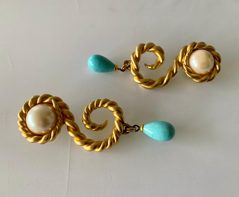 Bead Vintage Chanel  Gold Swirl Pearl and Turquoise Statement Earrings  For Sale