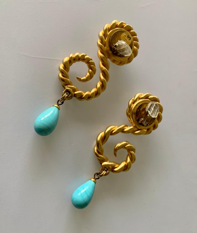 Vintage Chanel  Gold Swirl Pearl and Turquoise Statement Earrings  In Excellent Condition For Sale In Palm Springs, CA