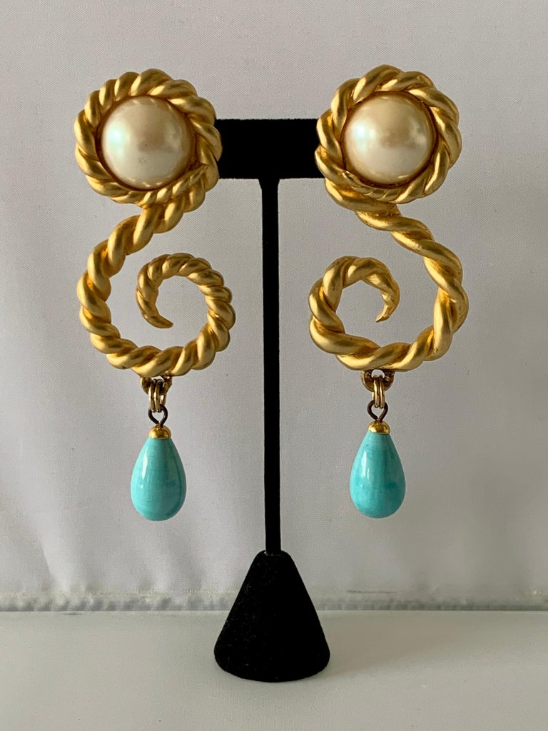 Women's Vintage Chanel  Gold Swirl Pearl and Turquoise Statement Earrings  For Sale