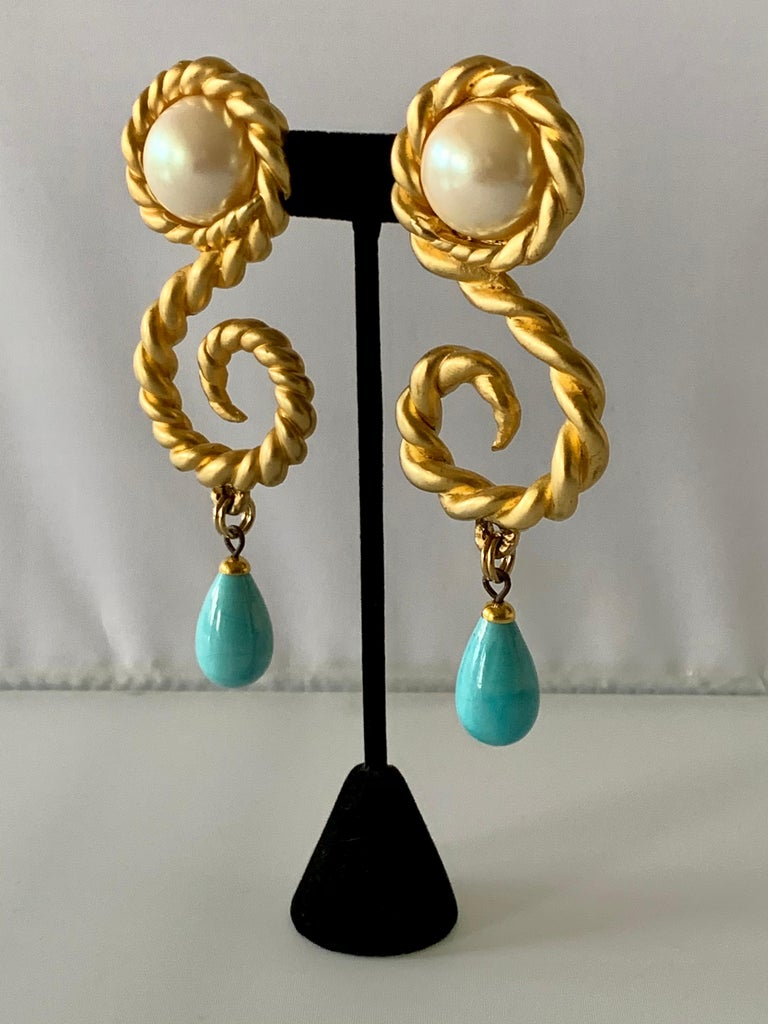 Vintage Chanel  Gold Swirl Pearl and Turquoise Statement Earrings  For Sale 1