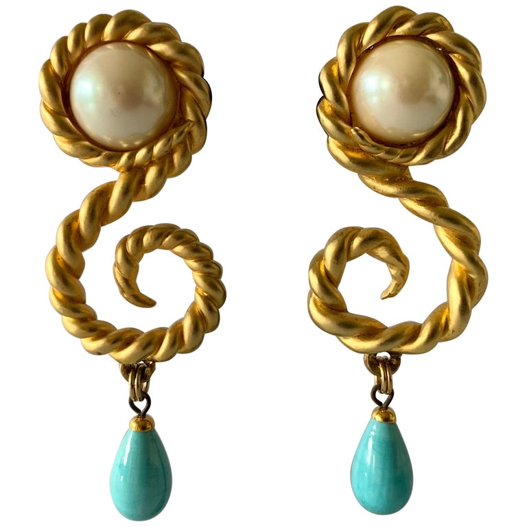 Vintage Chanel  Gold Swirl Pearl and Turquoise Statement Earrings  For Sale