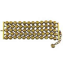 Vintage Chanel Gold Tone Five Row 2 1/4 Inch Wide Ball Bracelet