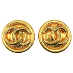 Vintage Chanel Gold Tubular CC Logo Earrings 1993