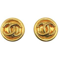 Vintage Chanel Gold Tubular Cc Logo Earrings 1993