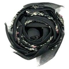 Vintage Chanel Grey Chiffon & Tweed Camellia Corsage Brooch 1980s