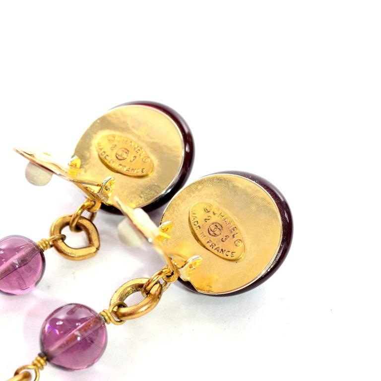Vintage Chanel Gripoix Purple Drop Gold Earrings Victoire de Castellane  For Sale 6